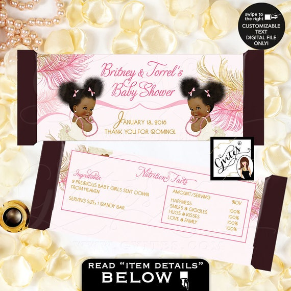 Candy Bar Wrapper Twins Baby Shower | Chocolate Bar Party Favors Wrappers | Pink & Gold Pearls Vintage Ethnic Baby Girl