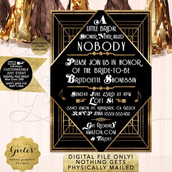 Gatsby Bridal Shower Invitation / 1920s Vintage Old Hollywood Party Style / Printable JPG + PDF