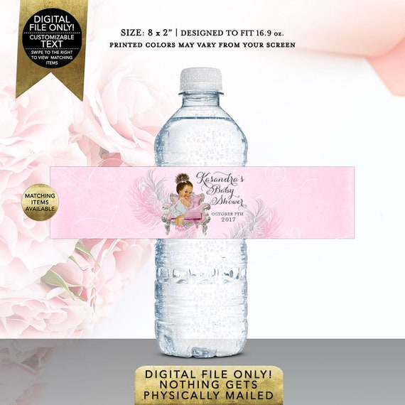 "Water Bottle Labels Pink and Silver Baby Shower 8x2"" 5 Per/Sheet 