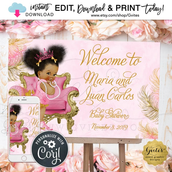 "Welcome Princess Pink & Gold Baby Shower Poster Sign | {Can Print Size(s): 36x24"" / 18x12""}"