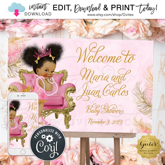 "Welcome Princess Pink & Gold Baby Shower Poster Sign | Edit w/Corjl Today! {Can Print Size(s): 36x24"" / 18x12""}"