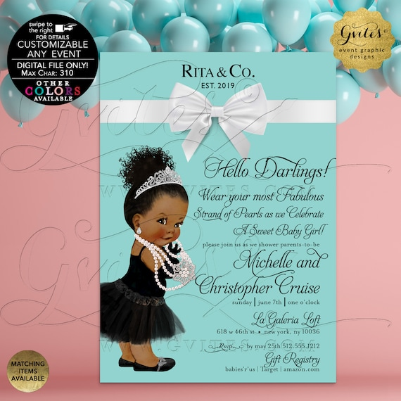Baby and Co Invitation Printable. Afro/Bun Curly Hair. Birthdays/Blue Party Girls. African American Vintage. DIY/Customizable Any Event!