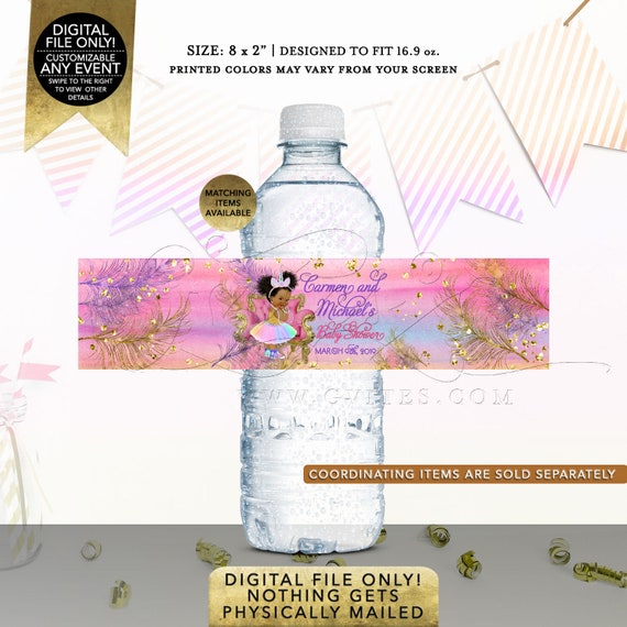 Water Bottle Labels Unicorn Baby Shower Princess | Digital File JPG + PDF Format | Design: UNCRN-101 By Gvites