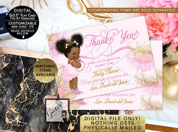 Baby Shower Thank You Card Pink Gold Princess Tiara African American/Ethnic/Vintage Diamonds Pearls/Afro Puffs. Gvites