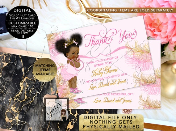 Baby Shower Thank You Card Pink Gold Princess Tiara African American/ Ethnic/ Vintage Diamonds Pearls/ Afro Puffs. Gvites