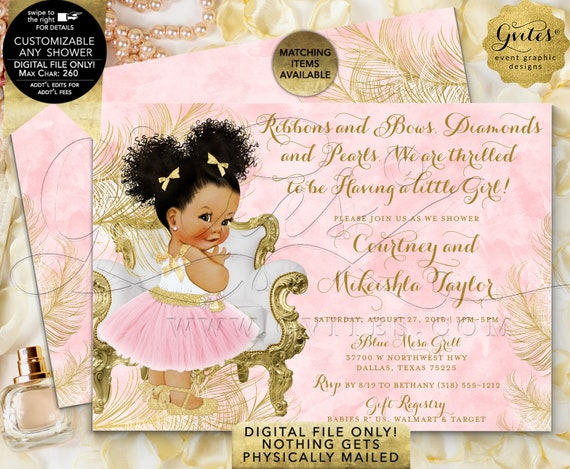 Pink Gold African American Baby Shower Ballerina Printable Invitation