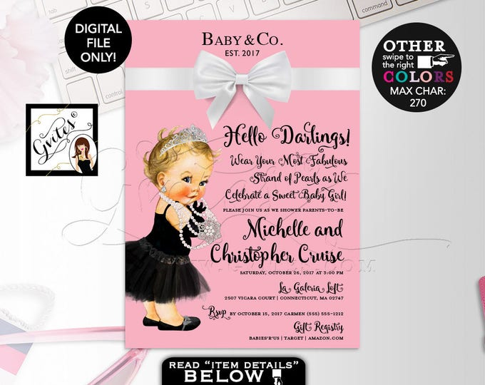 "Baby and Co Baby Shower Invitation, invites Audrey Hepburn Girl Vintage, Princess Silver Tiara, Pink and white. 5x7"" Gvites"