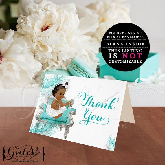 Little Princess Sitting White Pearls Diaper Babies of Color Thank You cards / Blue bows diamonds pearls / Vintage Baby Girl / 3 Skin Tones