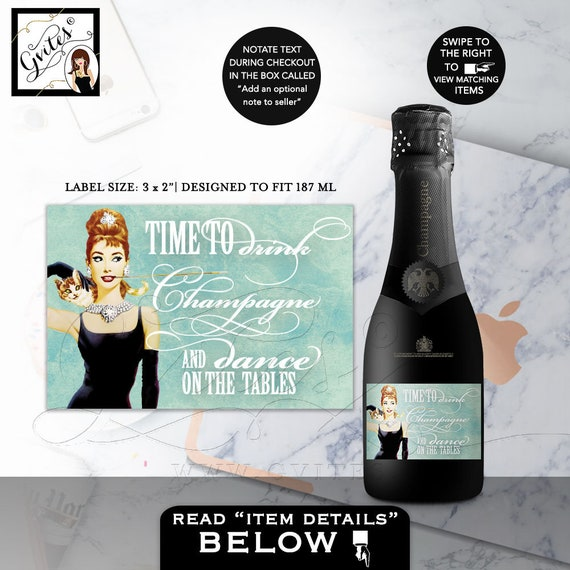 """Mini-Labels Time To Drink Champagne and Dance on the tables - Breakfast at Tiffanys Party Themed  3x2"""" 9/Per Sheet"""