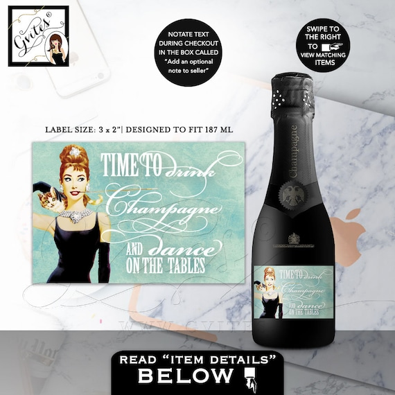 "Mini-Labels Time To Drink Champagne and Dance on the tables - Breakfast at Tiffanys Party Themed  3x2"" 9/ Per Sheet"
