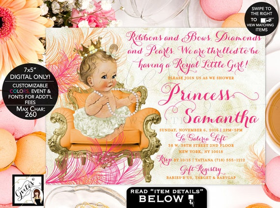 "Hot Pink Orange & Gold Princess Baby Shower Invitation | JPG + PDF | Printable 7x5"""