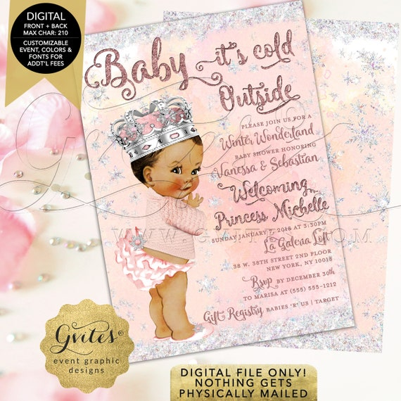 Blush Pink & Silver Winter Wonderland Baby Shower Printable Invitation | Ethnic Princess | Digital Printable File | Ethnic Baby Invitations