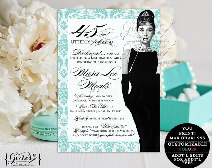 45 Utterly Fabulous, PRINTABLE Audrey Hepburn Invitation, elegant Invites, diamonds, pearls, little black dress.