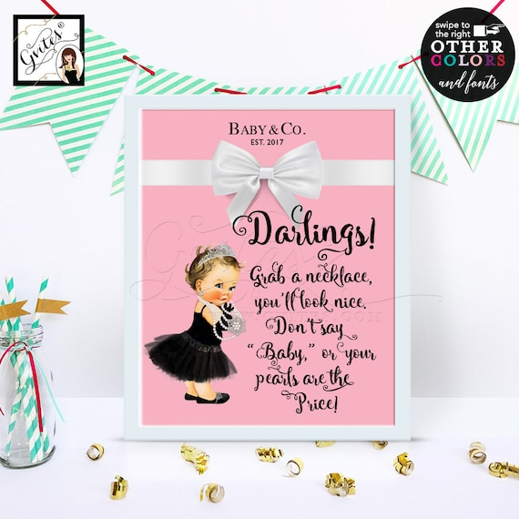 """Darlings Grab Necklace Don't Say Baby Shower Games Printable 8x10"""""""