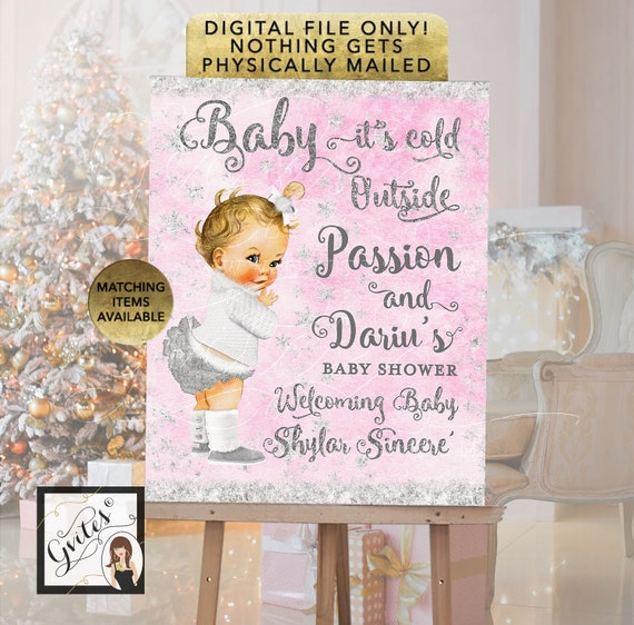 Welcome Baby Shower Sign, Light Pink & Silver Winter Baby it's Cold Outside, Wonderland Vintage Baby Girl. Printable, Digital File!