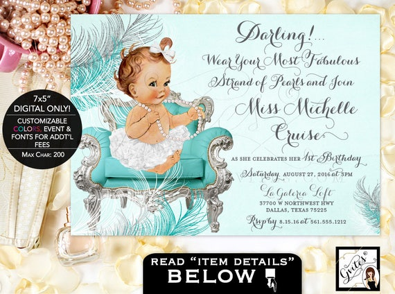 First Birthday Invitation Girl | Gray and Turquoise blue silver white birthday invites pearls bows ribbons tutus DIGITAL 7x5 Gvites.