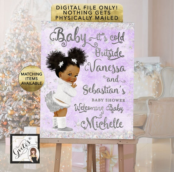 Afro Puffs Theme Winter Theme Welcome Sign \ Lavender and Silver