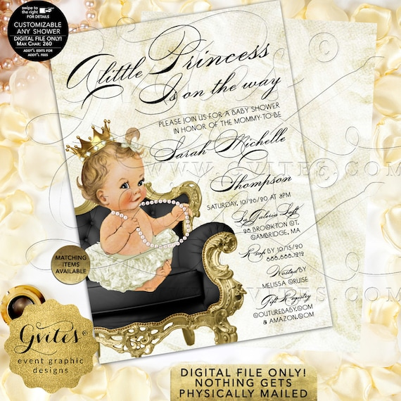 Ivory Gold Princess Baby Shower Invitation Digital PDF + JPG | Design: WHRST-102 By Gvites