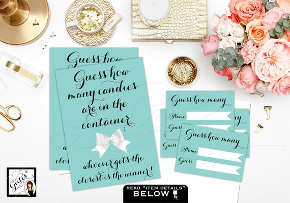 """Guess How Many Candies {Sign: 5x7"""" 2 Per Sheet & Ticket 3.5x2.5"""" 8 Per Sheet} by Gvites"""