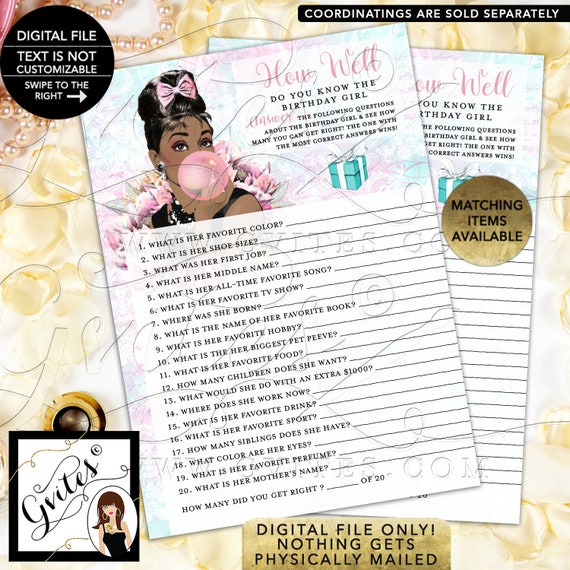 "How Well Do You Know The Birthday Girl? Audrey Hepburn Party Games. Digital File Only! PDF + JPG, 5x7""/2 Per Sheet {Instant Download}"