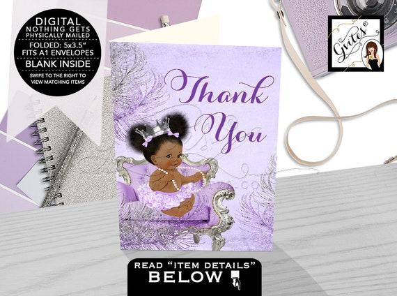 Folded Thank You Cards Lavender Purple Silver Baby Shower | Digital Printable JPG + PDF Design: CWCHSP-103 By Gvites