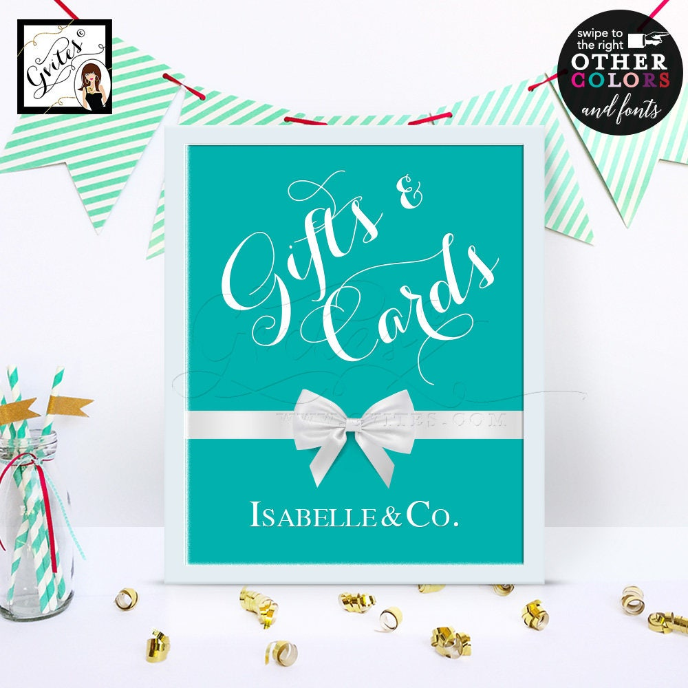 Wedding Gift Table Ideas: Gifts & Cards Breakfast At Blue Themed Table Signs/ Thank
