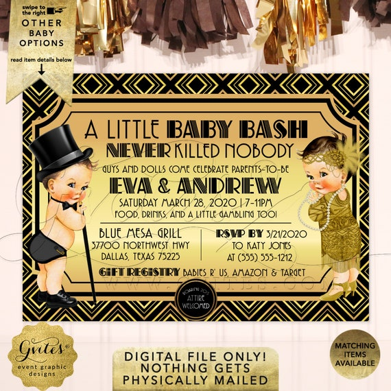 Gatsby Gender Reveal Baby Shower Invitations | Black Gold and Silver Vintage | 1920s themed Boy & Girl Printable Party Invites 7x5""