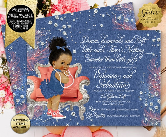 "Denim and Soft Little Curls Coral Silver/ Baby Shower Invitation/ Afro Bun Curly Vintage African American Girl. 7x5"" Double Sided."