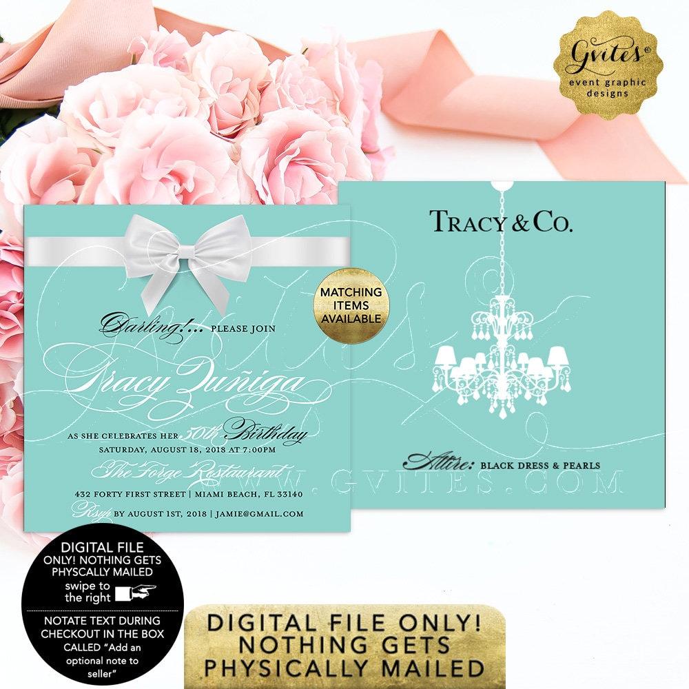 50th Birthday Printable Invitation Breakfast At Blue Themed Invites White Bow Chandelier Elegant Digital Invitations 5x5 Double Sided