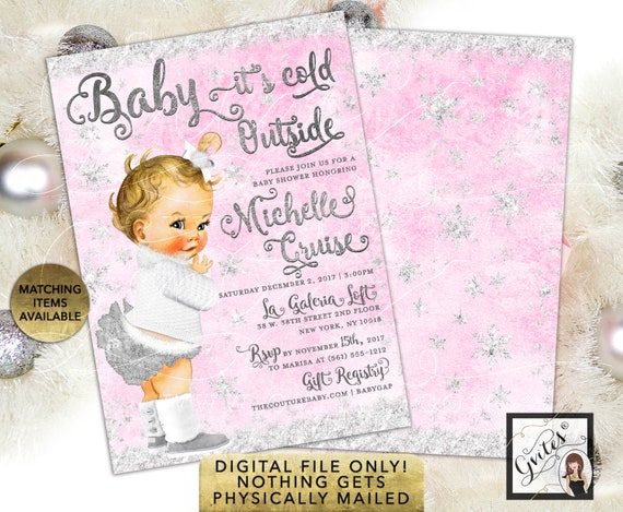 Winter Pink & Silver Baby it's Cold Outside Invitations/ Wonderland Vintage Baby Girl White Boots/ Printable Digital File Clipart