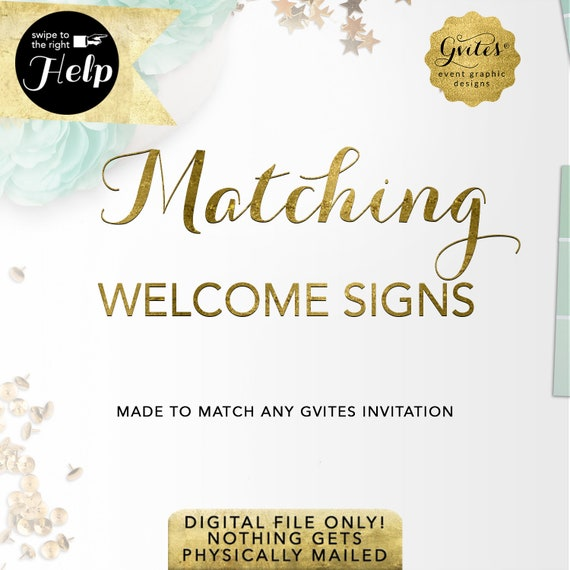 Matching Welcome Signs  Add-on - To Coordinate with any Gvites invitation design