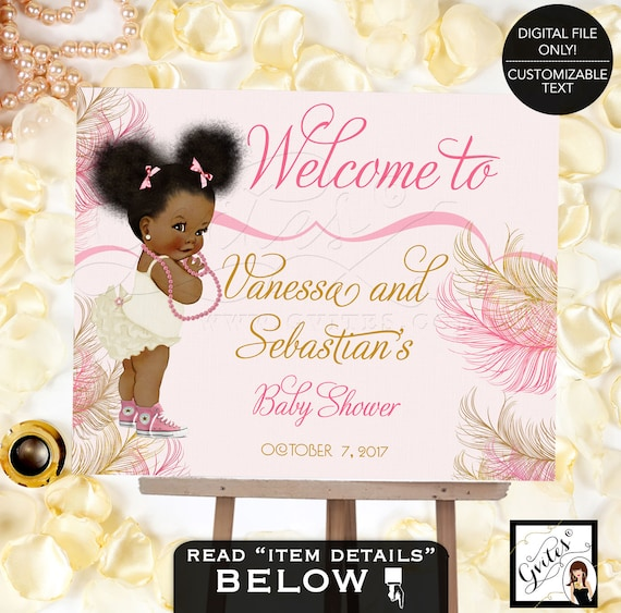 Pink and gold Welcome baby shower sign, baby girl decorations, table signs, african american diamonds pearls, Afro Puffs, Digital Poster