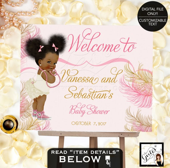 Pink and gold Welcome baby shower sign/ baby girl decorations/ table signs/ african american diamonds pearls/ Afro Puffs/ Digital Poster