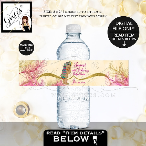 "Custom Water Bottle Labels, Egyptian Baby Shower, Pharaoh Party, Digital File, Pink Gold 8x2"" 5 Per/Sheet"
