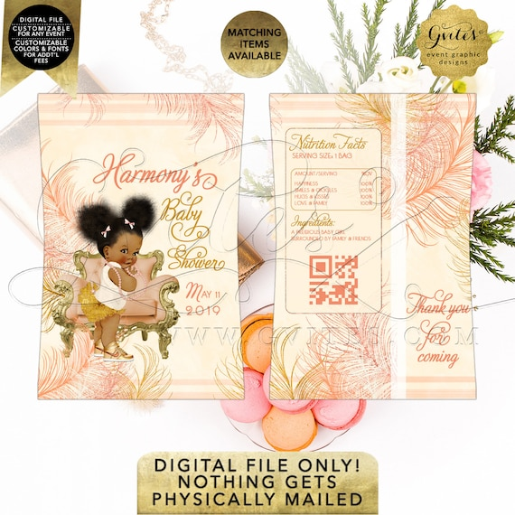Pastel-Peach/ Coral/ Blush/ Gold/ Ivory | Chip Bag Printable Baby Shower Party Favors | Afro Puffs/ Personalized Gifts {RAPCH-119}