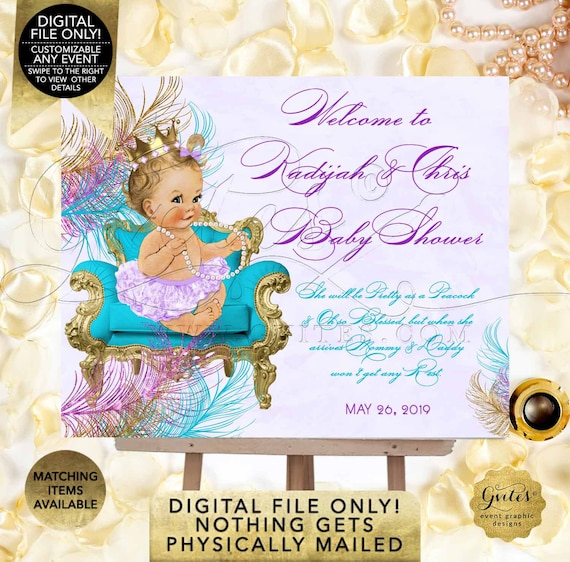 Welcome Sign Peacock Baby Shower Turquoise Lavender Purple Gold | Digital PDF + JPG Format | By Gvites