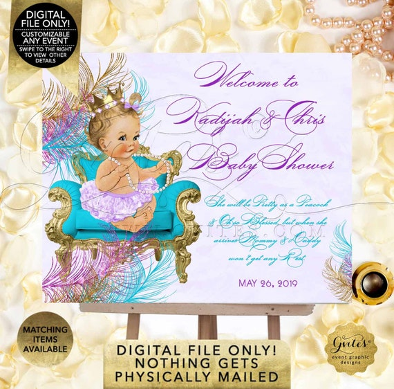 Welcome Sign Teal Blue Purple Gold Peacock Baby Shower Party Decorations Princess Vintage Girl Turquoise Lavender | Digital PDF + JPG