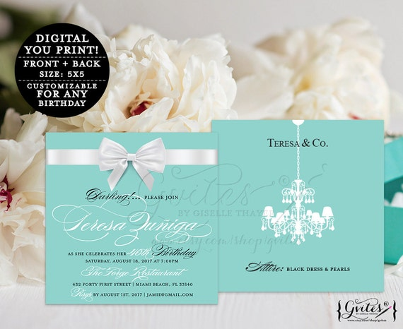 40th Blue White Bow Birthday Party Invitations/ Breakfast at 30th 50th 60th invites/ Turquoise Blue Elegant Square 5x5