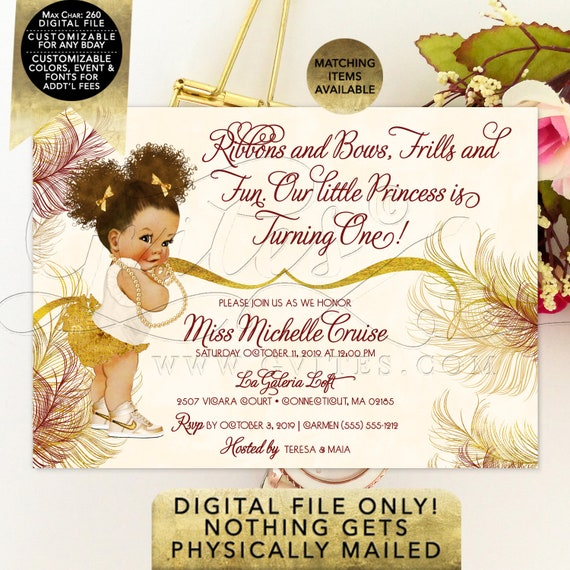 """Burgundy and Gold Birthday Invitation African American Baby Printable File. PDF + JPG File. 7x5"""" 