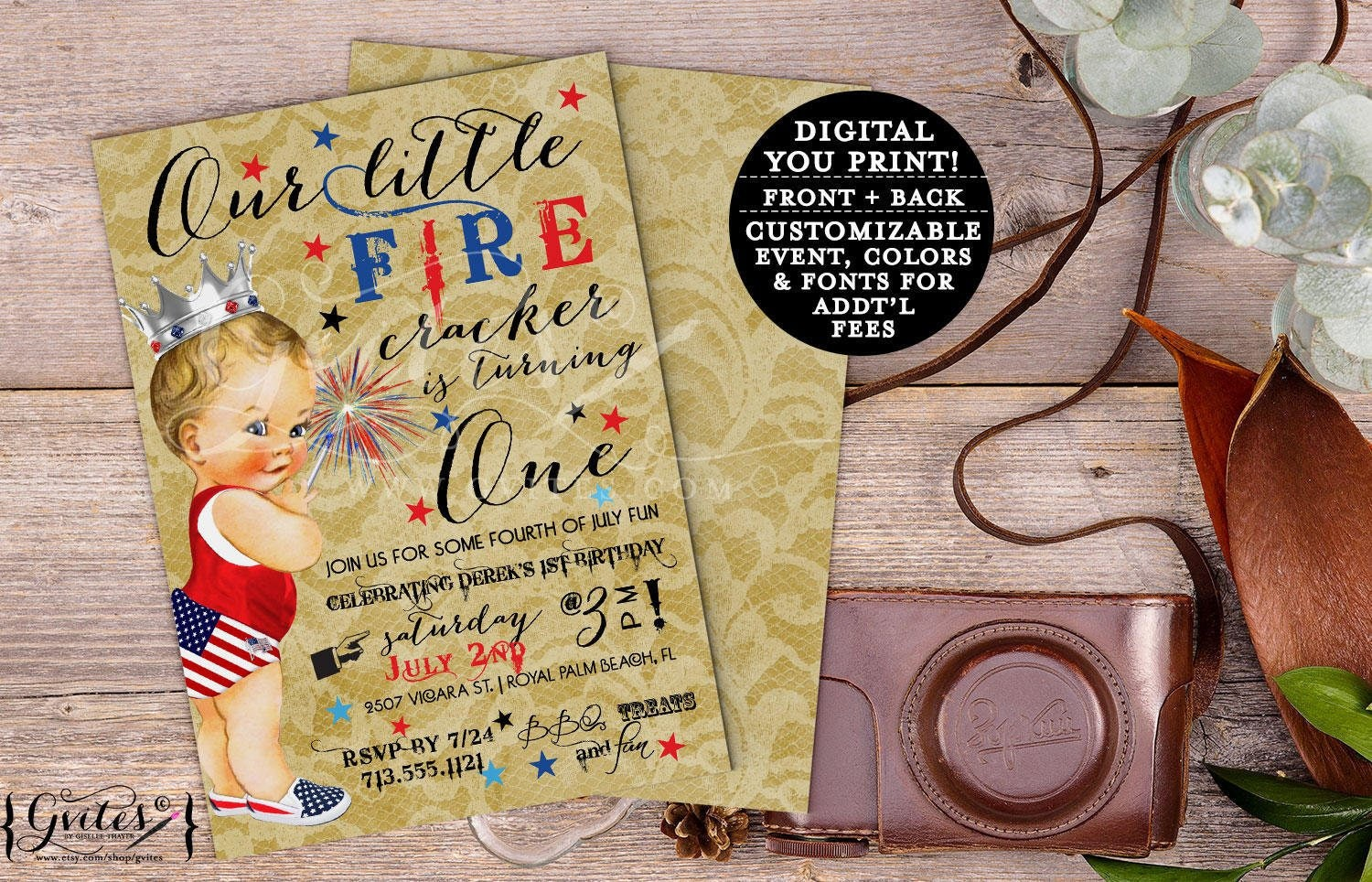 Fall Birthday Invitation Boy Our Little Firecracker Is Turning OneFirst 4th Of July Baby Patriotic Vintage Printable Digital