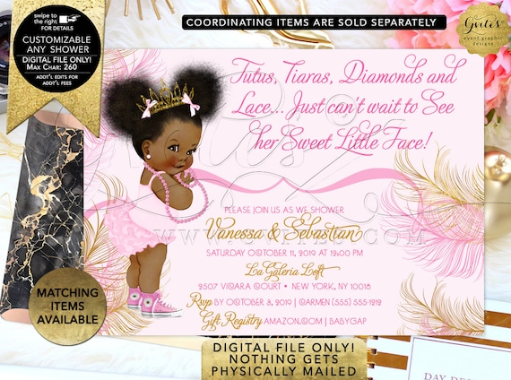 Pink and Gold Invitation Princess Baby Shower Tiara African American/ Diamonds pearls/ Afro Puffs. Gvites