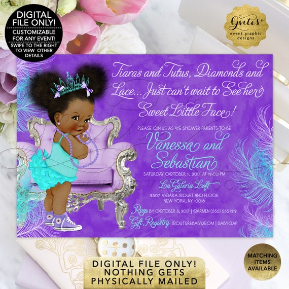 "Baby Shower Invitations | Afro Puffs Theme - Lavender & Turquoise | Tiaras Tutus Diamond Lace 7x5"" Double Sided. Text Customization Provided"