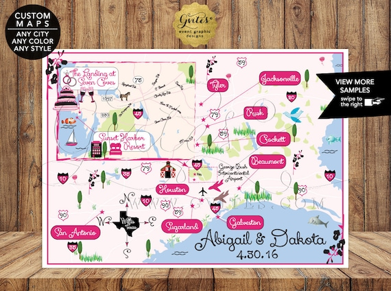 The Landing at Seven Coves - Willis Texas - Personalized Wedding Maps - Illustration Digital File