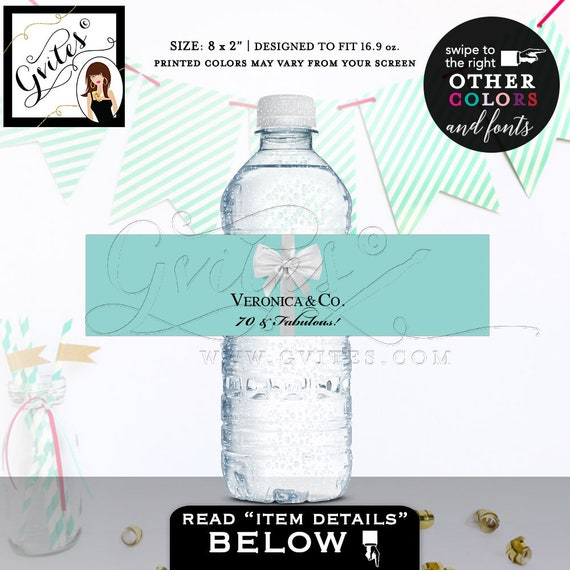 """70 & Fabulous Water Bottle Labels - PRINTABLE Breakfast at birthday and co blue themed party/ elegant party stickers/ 5 Per/ Sheet 8x2"""""""