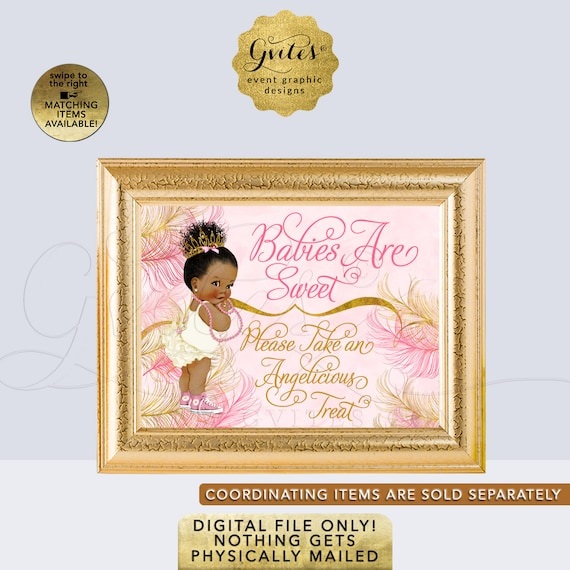 Personalized Pink Gold Ivory Babies Are Sweet Take A treat Sign | Afro Puffs Pink & Gold Baby Shower {Size(s) Available: 6x4/ 7x5/ 10x8}