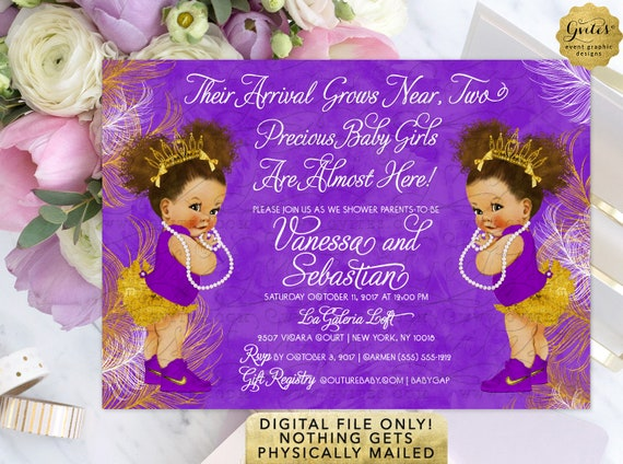 "Purple and Gold Twins Baby Shower Invitations | Digital File JPG + PDF 7x5"" By Gvites"