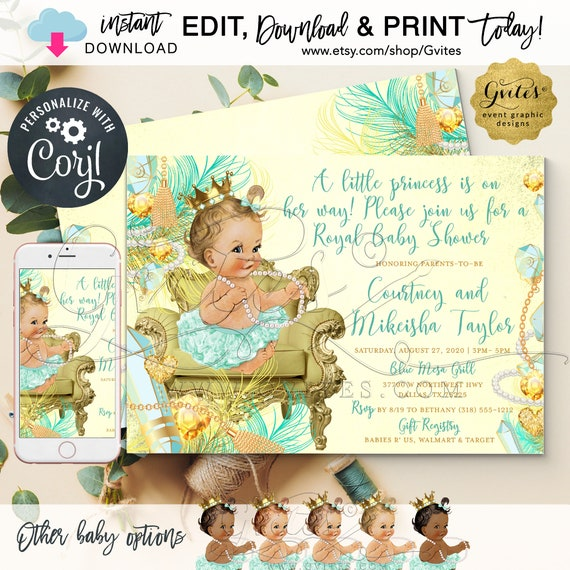 "Mint & Gold Diamonds and Pearls Baby Shower Princess Printable Invitation / Vintage INSTANT DOWNLOAD. Editable text. 7x5"" Double Sided."