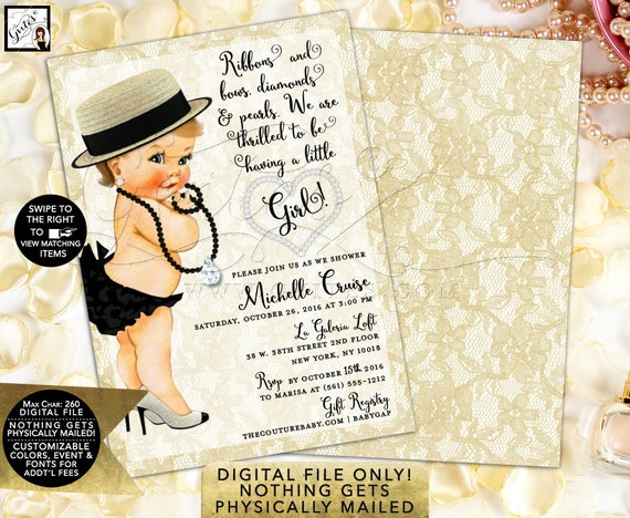 """Vintage Diamonds and Pearls Invitation 