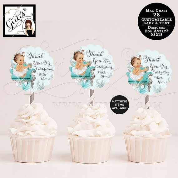 """Baby Shower Turquoise Blue Silver and White, Cupcake Toppers, Decorations Baby Shower, 2.5x2.5""""/9 Per Sheet {Designed For Avery® 08218}"""