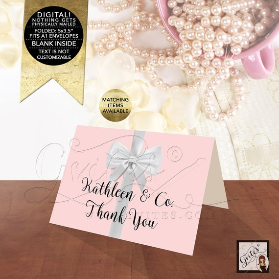 Bride & Co Thank You Bridal Baby Shower Cards/ Pink Birthday Folded Cards/ Customizable Text  Colors and Fonts